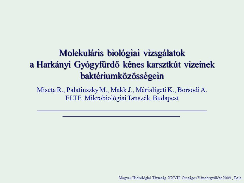 Molekuláris biológiai vizsgálatok a Harkányi Gyógyfürdő kénes karsztkút vizeinek baktériumközösségein Miseta R., Palatinszky M., Makk J., Márialigeti K., Borsodi A.