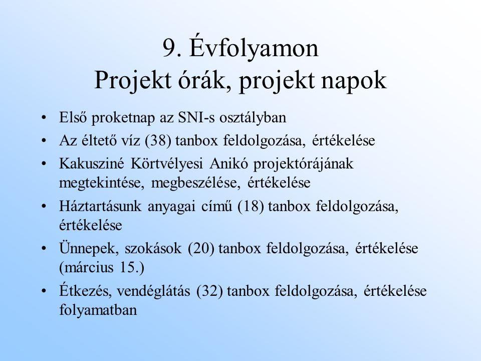 9. Évfolyamon Projekt órák, projekt napok Első proketnap az SNI-s osztályban Az éltető víz (38) tanbox feldolgozása, értékelése Kakusziné Körtvélyesi