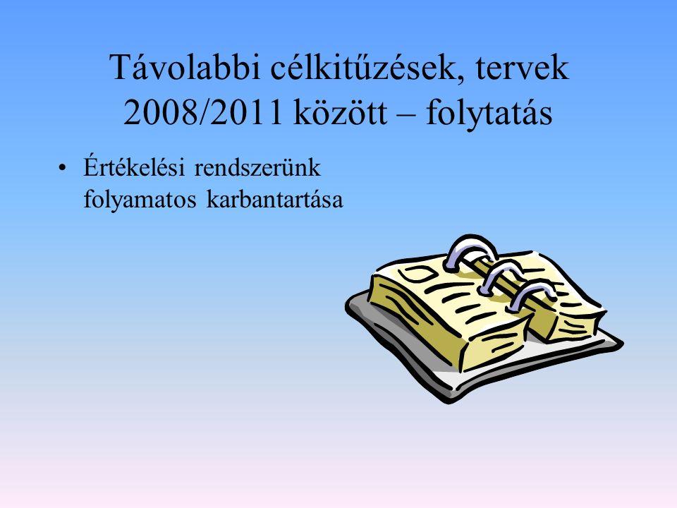 Távolabbi célkitűzések, tervek 2008/2011 között – folytatás Értékelési rendszerünk folyamatos karbantartása