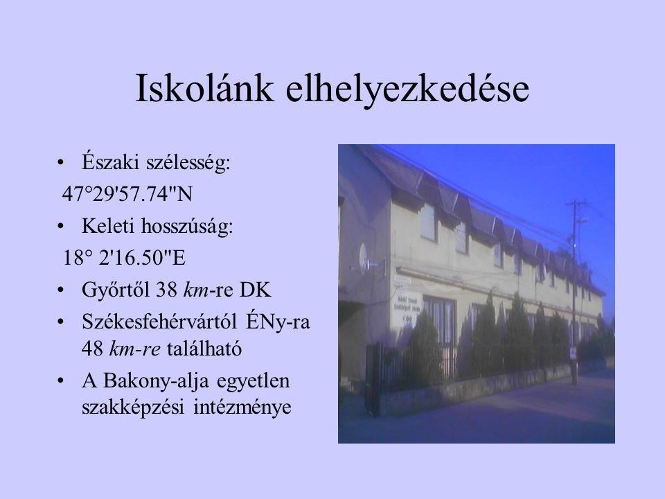 Iskolánk elhelyezkedése Északi szélesség: 47°29 57.74 N Keleti hosszúság: 18° 2 16.50 E Győrtől 38 km-re DK Székesfehérvártól ÉNy-ra 48 km-re található A Bakony-alja egyetlen szakképzési intézménye