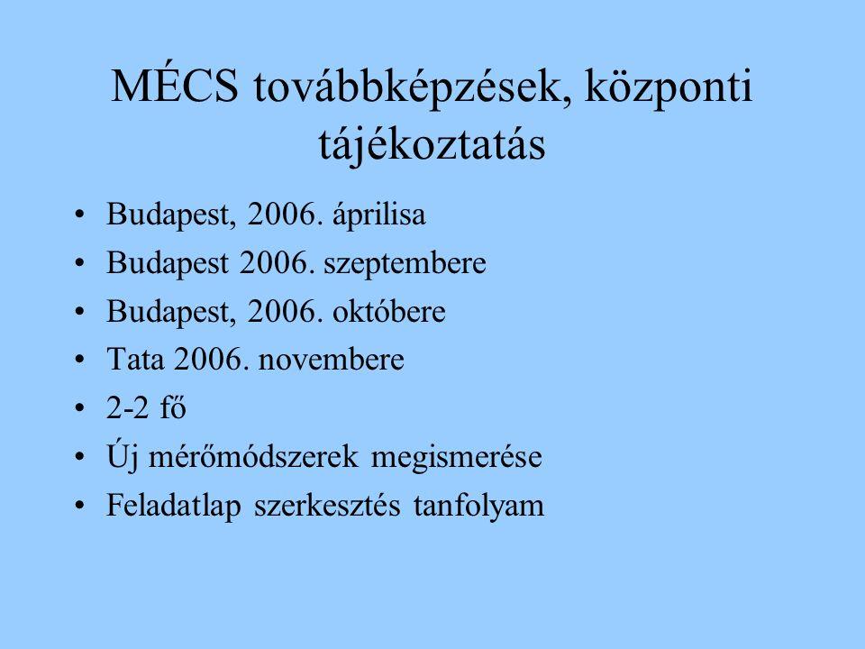 MÉCS továbbképzések, központi tájékoztatás Budapest, 2006.