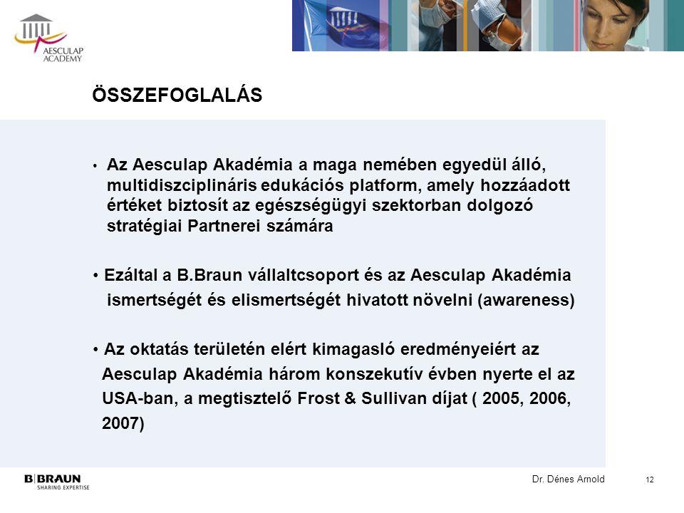 Dr. Dénes Arnold 12 ÖSSZEFOGLALÁS Az Aesculap Akadémia a maga nemében egyedül álló, multidiszciplináris edukációs platform, amely hozzáadott értéket b