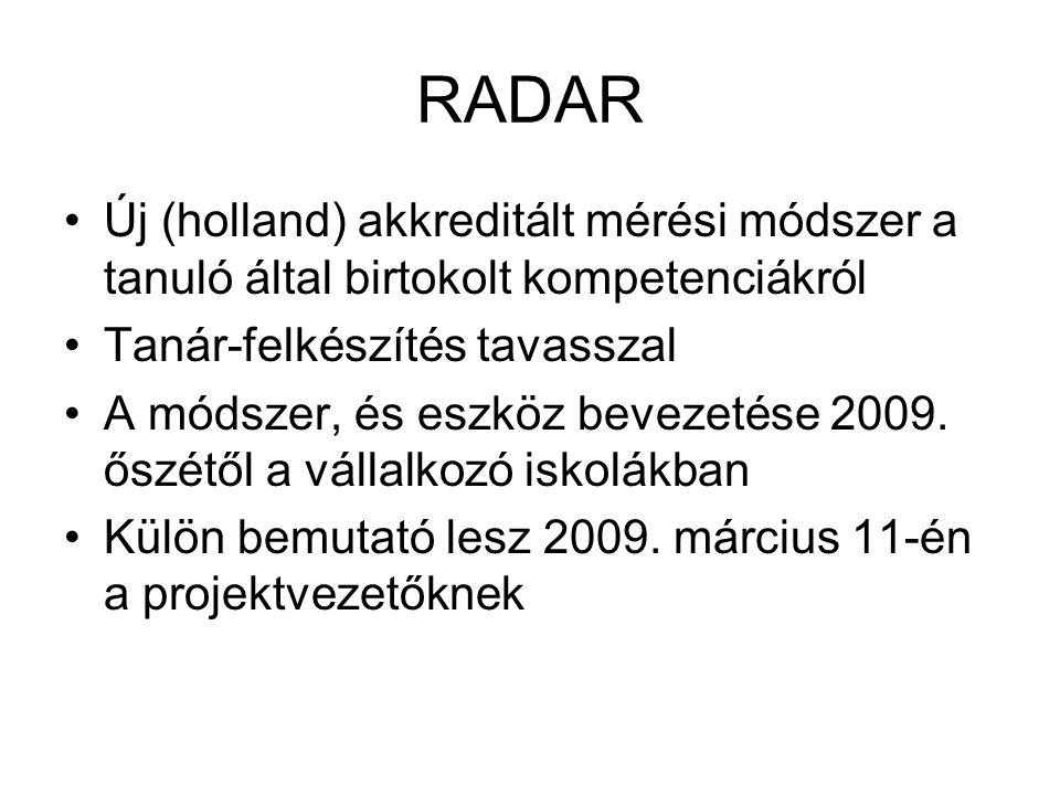 RADAR Új (holland) akkreditált mérési módszer a tanuló által birtokolt kompetenciákról Tanár-felkészítés tavasszal A módszer, és eszköz bevezetése 2009.
