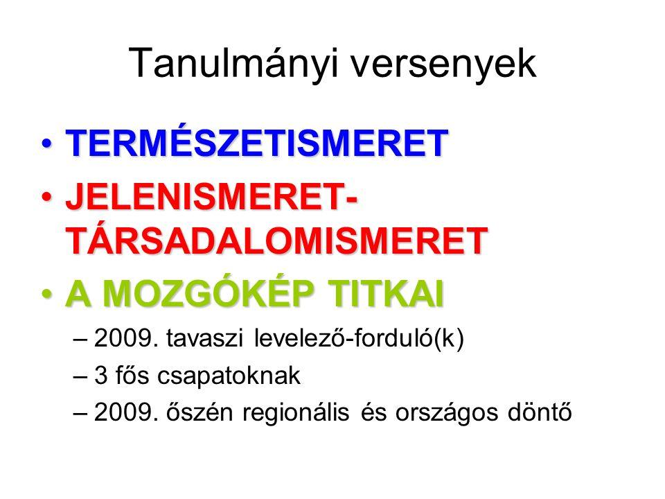Tanulmányi versenyek TERMÉSZETISMERETTERMÉSZETISMERET JELENISMERET- TÁRSADALOMISMERETJELENISMERET- TÁRSADALOMISMERET A MOZGÓKÉP TITKAIA MOZGÓKÉP TITKAI –2009.