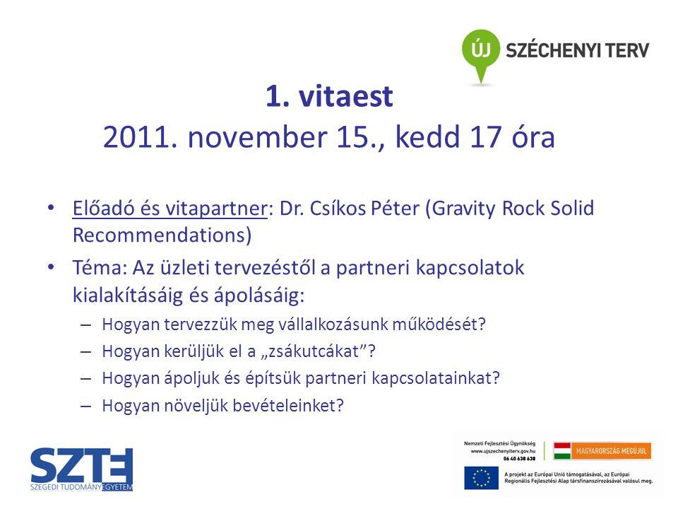 1. vitaest 2011. november 15., kedd 17 óra Előadó és vitapartner: Dr.