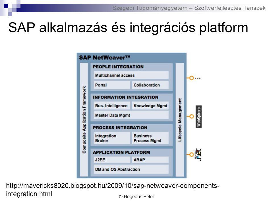 Szegedi Tudományegyetem – Szoftverfejlesztés Tanszék ABAP Advanced Business Application Programming  4GL nyelv  Eredetileg az SAP R/2 riport lekérdező nyelve  Saját SAP riportok/komponensek fejlesztése  Nincs külön forrásfájl, SAP DB tárolja  Bytecode generálódik belőle -> futtatókörnyezet NetWeaver  Támogatja az ABAP és Java nyelveket is © Hegedűs Péter