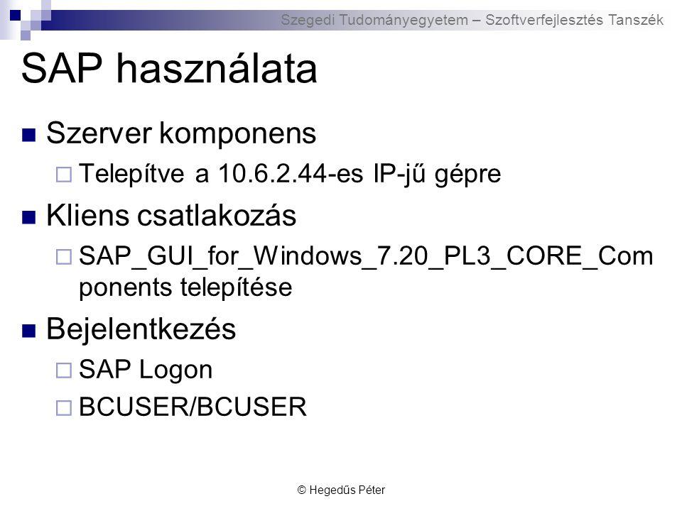 Szegedi Tudományegyetem – Szoftverfejlesztés Tanszék SAP demo Bejelentkezés Navigáció Komponensek © Hegedűs Péter