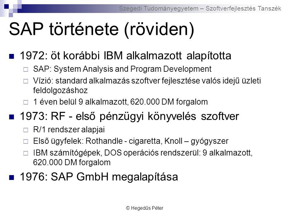 Szegedi Tudományegyetem – Szoftverfejlesztés Tanszék SAP története (röviden) © Hegedűs Péter