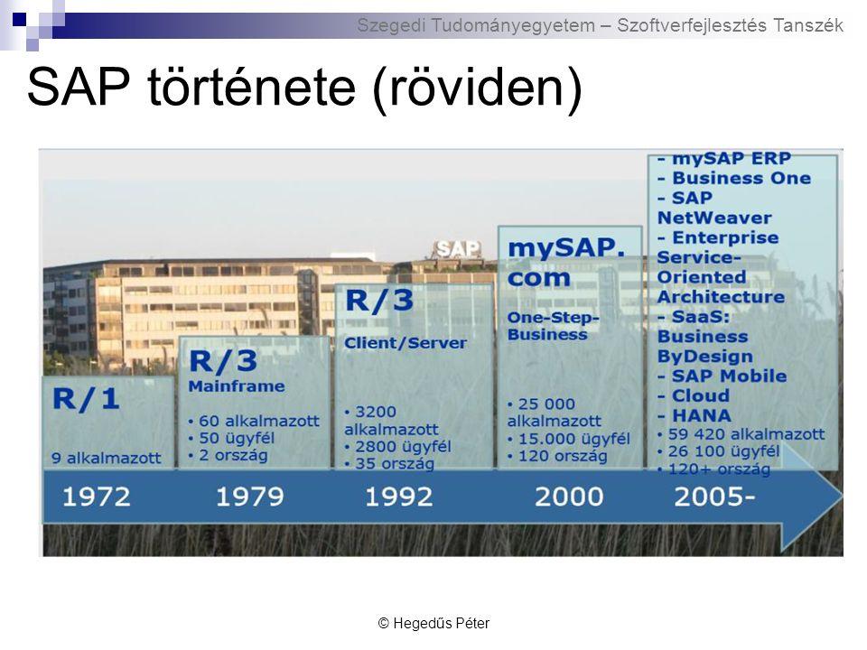 Szegedi Tudományegyetem – Szoftverfejlesztés Tanszék SAP története (röviden) 1980-as években vált sikeressé az SAP R/2-nek köszönhetően Az SAP R/3 1992-es bevezetése után az SAP AG a világ vezető standard alkalmazási szoftver terjesztő cége lett 1998-ban az SAP egytermékes vállalatból globális méretű, üzleti megoldásokat szállító céggé vált 1999 – mySAP.com stratégia  nyílt, rugalmas és széles körű e-üzleti megoldásokból felépülő környezet 2002 - NetWeaver © Hegedűs Péter