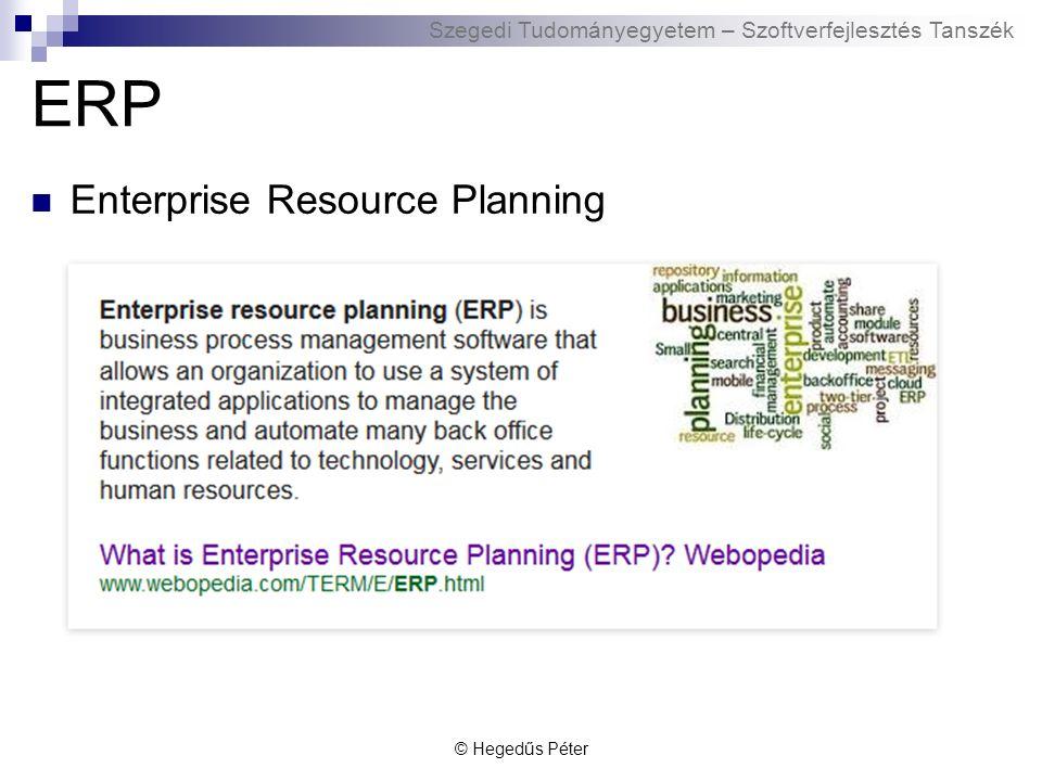 Szegedi Tudományegyetem – Szoftverfejlesztés Tanszék ERP története 1970-es évek: nincs még ERP rendszer  SAP: R/1 rendszer: valós idejű feldolgozás, központi adatbázis 1980-as évek: standard ERP rendszerek  SAP: piacvezető, integrált folyamatok - hatékonyság 1990-es évek: internet, E-business  SAP: új dimenziós termékek: CRM, APO, EPB, SEM, BW  vállalatokon átívelő folyamatok 2000-es évek: integrált Business Suite és xApps  E-business az ERP rendszer bővítése  Termékek kombinációja folyamatok támogatására © Hegedűs Péter