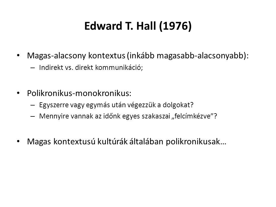 Edward T. Hall (1976) Magas-alacsony kontextus (inkább magasabb-alacsonyabb): – Indirekt vs.