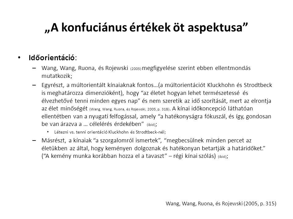 """""""A konfuciánus értékek öt aspektusa Időorientáció: – Wang, Wang, Ruona, és Rojewski (2005) megfigyelése szerint ebben ellentmondás mutatkozik; – Egyrészt, a múltorientált kínaiaknak fontos…(a múltorientációt Kluckhohn és Strodtbeck is meghatározza dimenzióként), hogy az életet hogyan lehet természetessé és élvezhetővé tenni minden egyes nap és nem szeretik az idő szorítását, mert az elrontja az élet minőségét (Wang, Wang, Ruona, és Rojewski, 2005, p."""