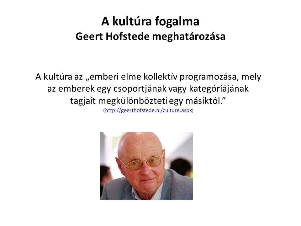 """A kultúra fogalma Geert Hofstede meghatározása A kultúra az """"emberi elme kollektív programozása, mely az emberek egy csoportjának vagy kategóriájának tagjait megkülönbözteti egy másiktól. (http://geerthofstede.nl/culture.aspx )http://geerthofstede.nl/culture.aspx"""