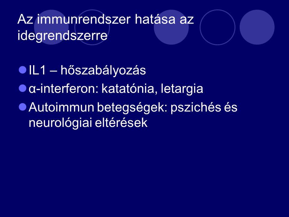 Az immunrendszer hatása az idegrendszerre IL1 – hőszabályozás α-interferon: katatónia, letargia Autoimmun betegségek: pszichés és neurológiai eltérések