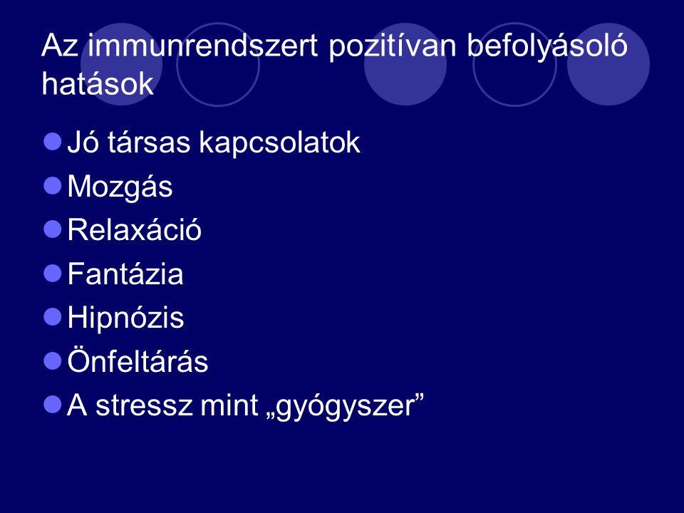 """Az immunrendszert pozitívan befolyásoló hatások Jó társas kapcsolatok Mozgás Relaxáció Fantázia Hipnózis Önfeltárás A stressz mint """"gyógyszer"""