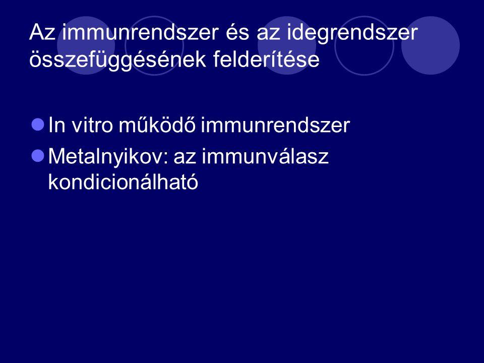 Az immunrendszer és az idegrendszer összefüggésének felderítése In vitro működő immunrendszer Metalnyikov: az immunválasz kondicionálható