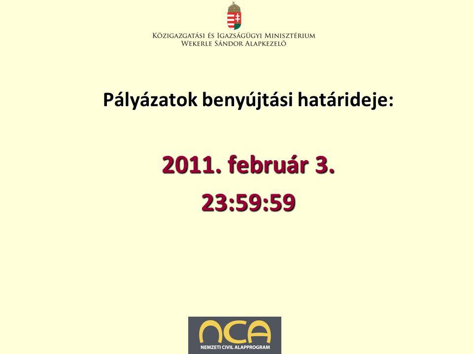 Pályázatok benyújtási határideje: 2011. február 3. 23:59:59