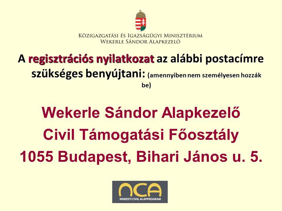 A regisztrációs nyilatkozat az alábbi postacímre szükséges benyújtani: (amennyiben nem személyesen hozzák be) Wekerle Sándor Alapkezelő Civil Támogatási Főosztály 1055 Budapest, Bihari János u.