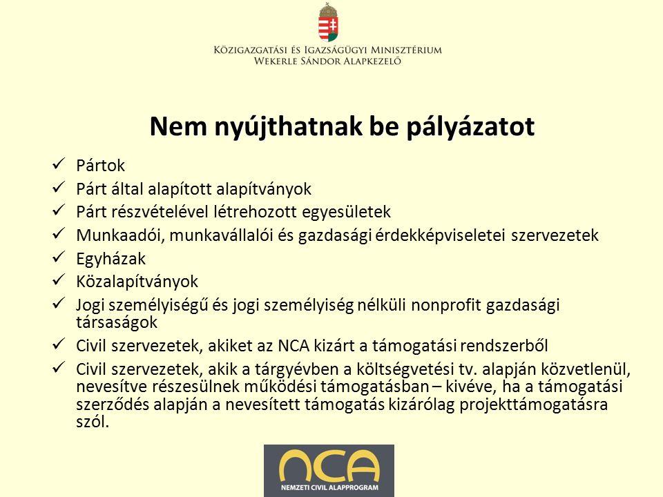 Nem nyújthatnak be pályázatot Pártok Párt által alapított alapítványok Párt részvételével létrehozott egyesületek Munkaadói, munkavállalói és gazdasági érdekképviseletei szervezetek Egyházak Közalapítványok Jogi személyiségű és jogi személyiség nélküli nonprofit gazdasági társaságok Civil szervezetek, akiket az NCA kizárt a támogatási rendszerből Civil szervezetek, akik a tárgyévben a költségvetési tv.