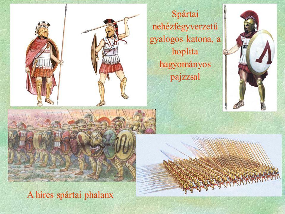Spártai nehézfegyverzetű gyalogos katona, a hoplita hagyományos pajzzsal A híres spártai phalanx