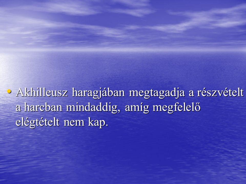 Akhilleusz haragjában megtagadja a részvételt a harcban mindaddig, amíg megfelelő elégtételt nem kap.