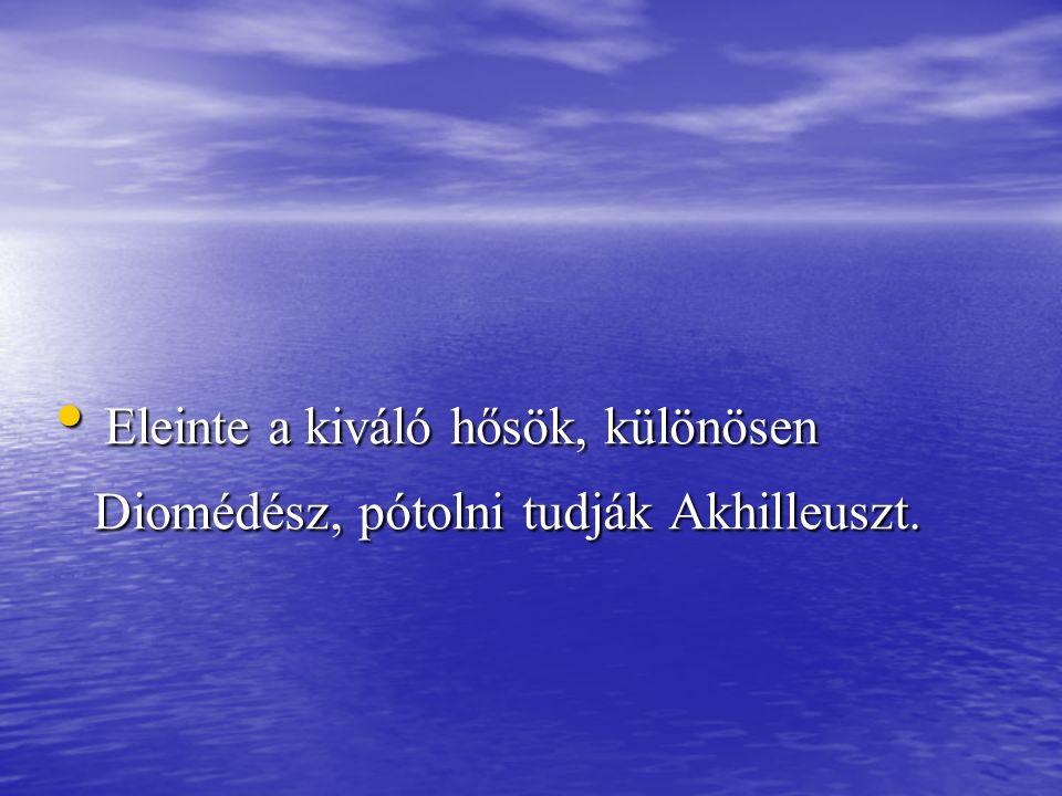 Eleinte a kiváló hősök, különösen Diomédész, pótolni tudják Akhilleuszt. Eleinte a kiváló hősök, különösen Diomédész, pótolni tudják Akhilleuszt.
