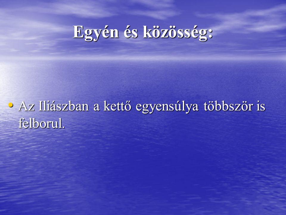 Egyén és közösség: Az Iliászban a kettő egyensúlya többször is felborul. Az Iliászban a kettő egyensúlya többször is felborul.