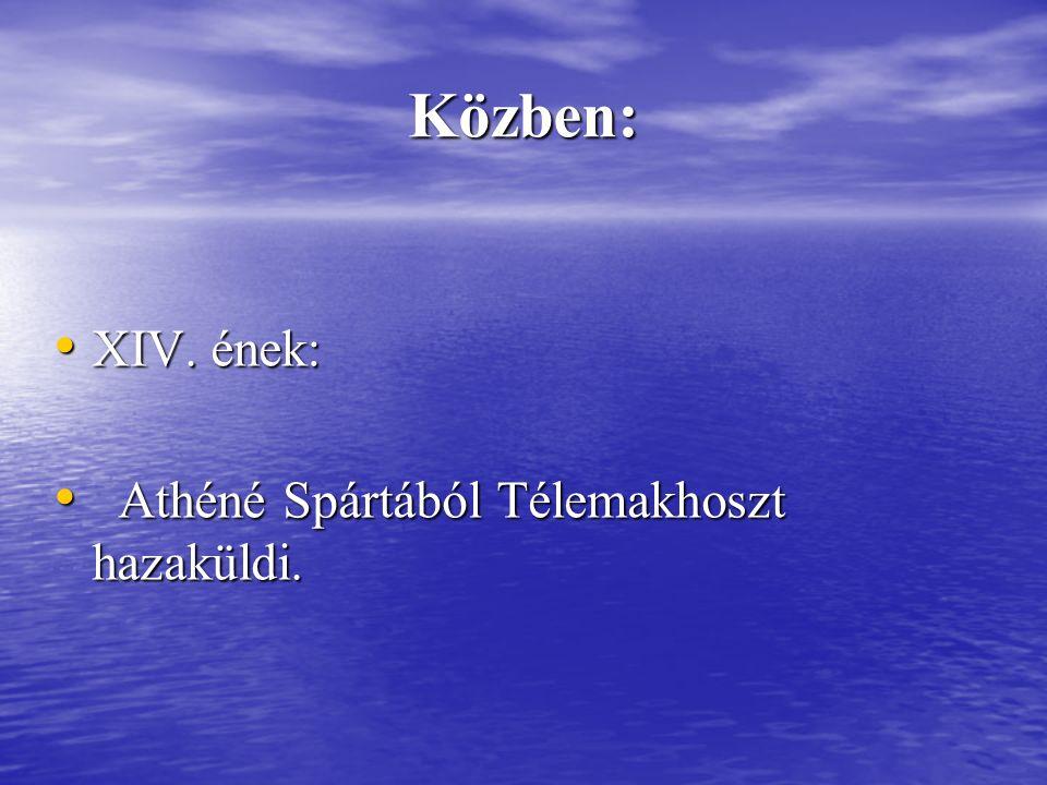 Közben: XIV.ének: XIV. ének: Athéné Spártából Télemakhoszt hazaküldi.