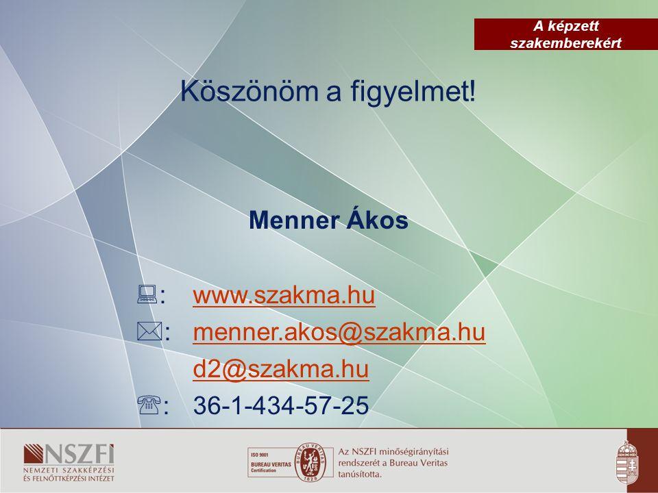 A képzett szakemberekért Köszönöm a figyelmet! Menner Ákos  :www.szakma.hu  :menner.akos@szakma.hu d2@szakma.hu  :36-1-434-57-25