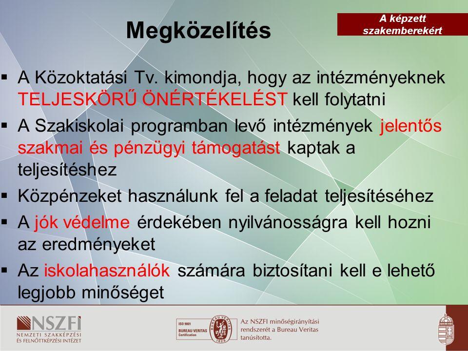 A képzett szakemberekért Megközelítés  A Közoktatási Tv. kimondja, hogy az intézményeknek TELJESKÖRŰ ÖNÉRTÉKELÉST kell folytatni  A Szakiskolai prog