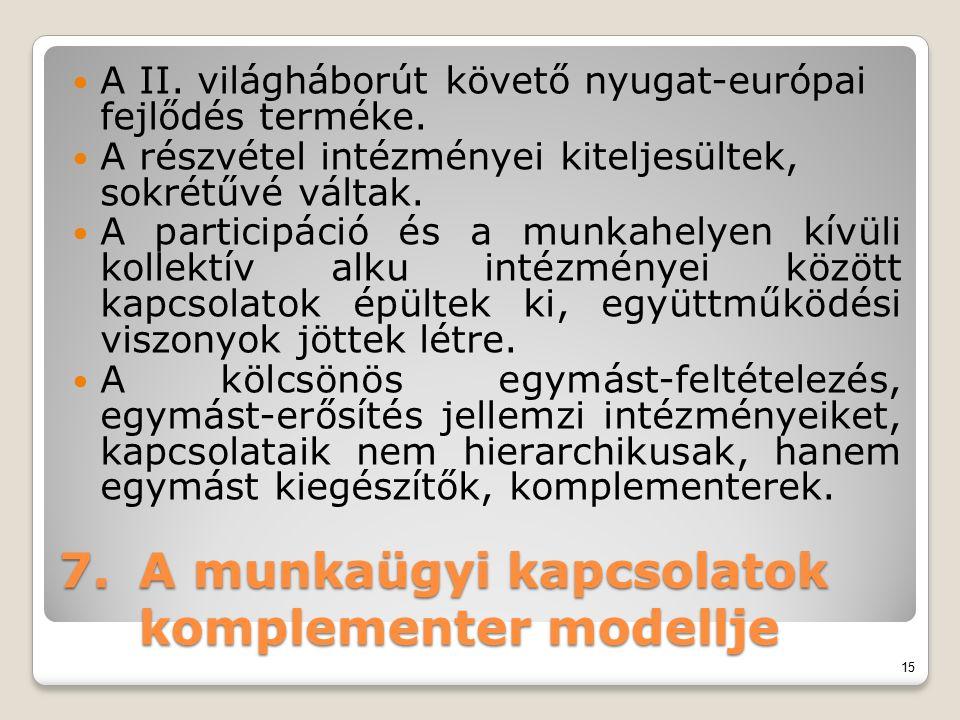 7.A munkaügyi kapcsolatok komplementer modellje A II. világháborút követő nyugat-európai fejlődés terméke. A részvétel intézményei kiteljesültek, sokr