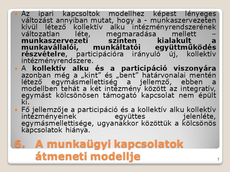 6.A munkaügyi kapcsolatok átmeneti modellje Az ipari kapcsoltok modellhez képest lényeges változást annyiban mutat, hogy a - munkaszervezeten kívül lé