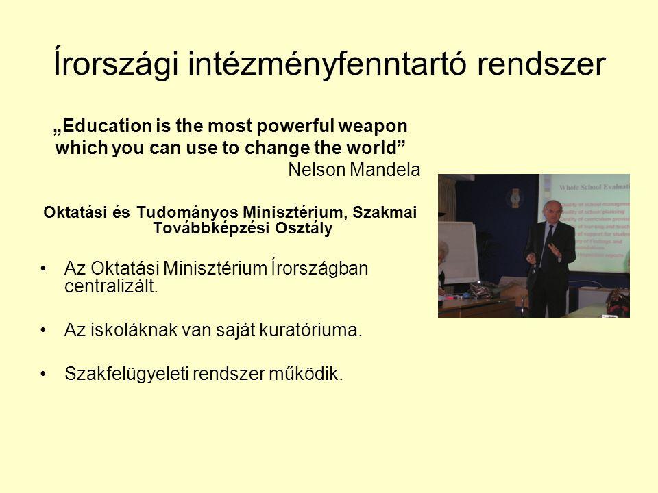 """""""Education is the most powerful weapon which you can use to change the world Nelson Mandela Oktatási és Tudományos Minisztérium, Szakmai Továbbképzési Osztály Az Oktatási Minisztérium Írországban centralizált."""