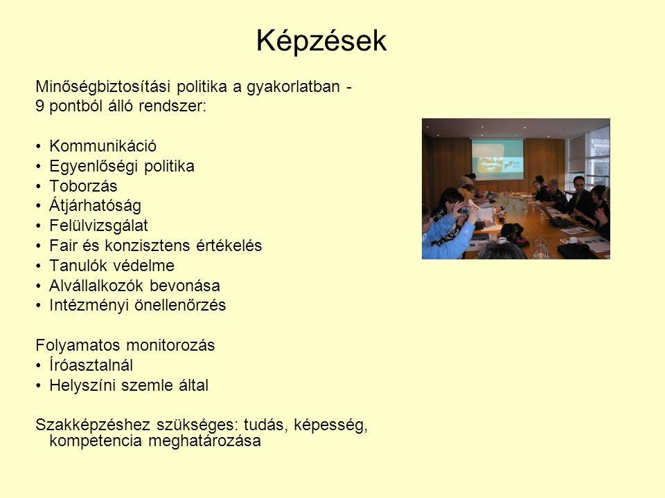 Képzések Minőségbiztosítási politika a gyakorlatban - 9 pontból álló rendszer: Kommunikáció Egyenlőségi politika Toborzás Átjárhatóság Felülvizsgálat Fair és konzisztens értékelés Tanulók védelme Alvállalkozók bevonása Intézményi önellenőrzés Folyamatos monitorozás Íróasztalnál Helyszíni szemle által Szakképzéshez szükséges: tudás, képesség, kompetencia meghatározása