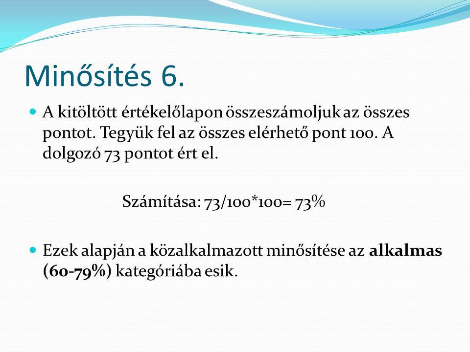 Minősítés 6. A kitöltött értékelőlapon összeszámoljuk az összes pontot.