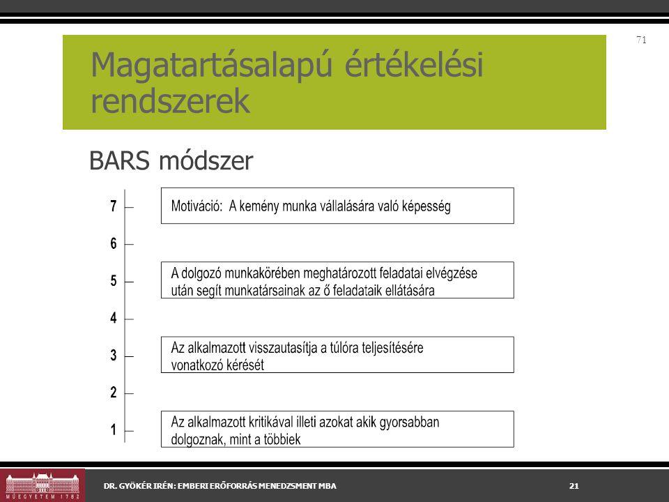 BARS módszer 71 Magatartásalapú értékelési rendszerek DR.