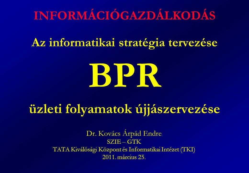 Az informatikai stratégia tervezése BPR üzleti folyamatok újjászervezése Dr. Kovács Árpád Endre SZIE – GTK TATA Kiválósági Központ és Informatikai Int