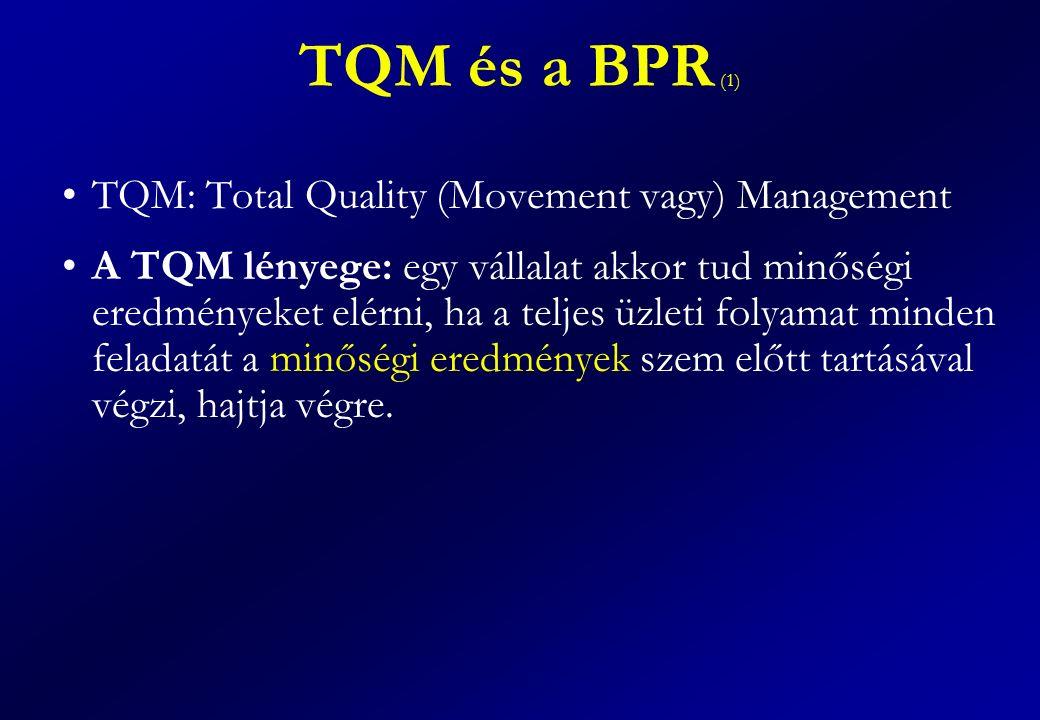 TQM és a BPR (1) TQM: Total Quality (Movement vagy) Management A TQM lényege: egy vállalat akkor tud minőségi eredményeket elérni, ha a teljes üzleti folyamat minden feladatát a minőségi eredmények szem előtt tartásával végzi, hajtja végre.