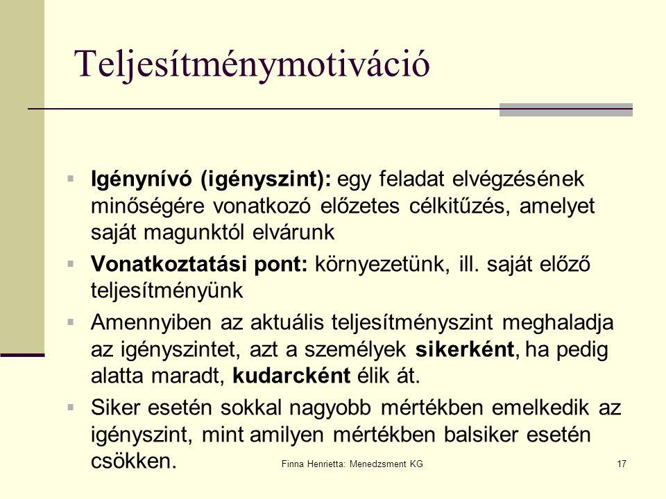 Finna Henrietta: Menedzsment KG17 Teljesítménymotiváció  Igénynívó (igényszint): egy feladat elvégzésének minőségére vonatkozó előzetes célkitűzés, a