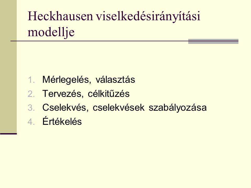 Heckhausen viselkedésirányítási modellje 1.Mérlegelés, választás 2.