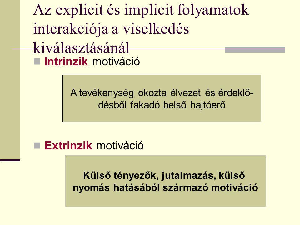 Az explicit és implicit folyamatok interakciója a viselkedés kiválasztásánál Intrinzik motiváció Extrinzik motiváció A tevékenység okozta élvezet és érdeklő- désből fakadó belső hajtóerő Külső tényezők, jutalmazás, külső nyomás hatásából származó motiváció