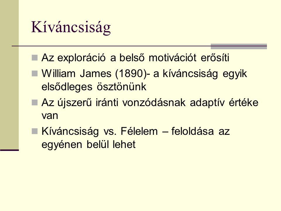 Kíváncsiság Az exploráció a belső motivációt erősíti William James (1890)- a kíváncsiság egyik elsődleges ösztönünk Az újszerű iránti vonzódásnak adaptív értéke van Kíváncsiság vs.
