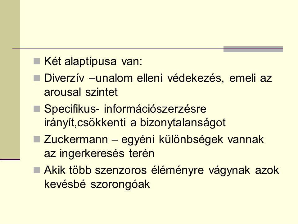 Két alaptípusa van: Diverzív –unalom elleni védekezés, emeli az arousal szintet Specifikus- információszerzésre irányít,csökkenti a bizonytalanságot Zuckermann – egyéni különbségek vannak az ingerkeresés terén Akik több szenzoros éléményre vágynak azok kevésbé szorongóak