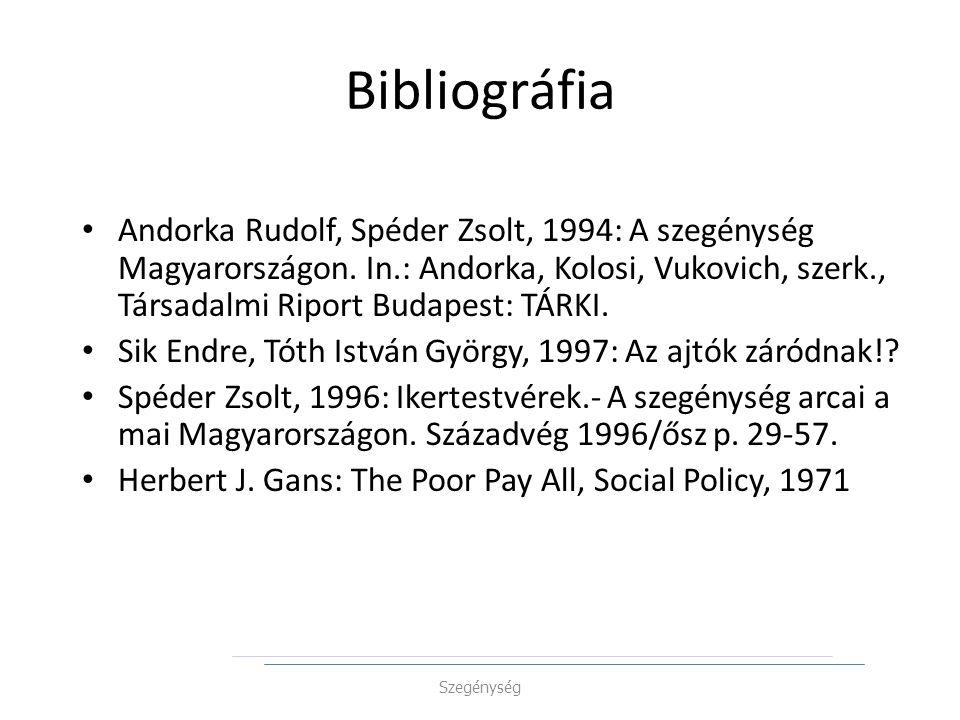 Bibliográfia Andorka Rudolf, Spéder Zsolt, 1994: A szegénység Magyarországon. In.: Andorka, Kolosi, Vukovich, szerk., Társadalmi Riport Budapest: TÁRK