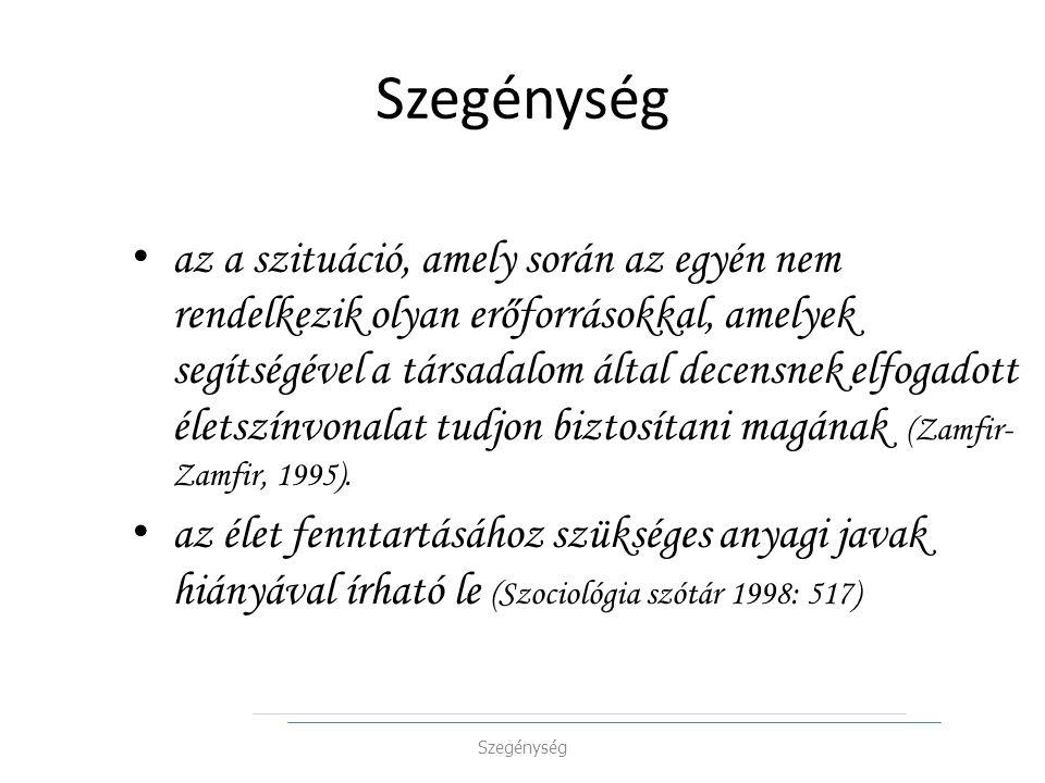 az a szituáció, amely során az egyén nem rendelkezik olyan erőforrásokkal, amelyek segítségével a társadalom által decensnek elfogadott életszínvonalat tudjon biztosítani magának (Zamfir- Zamfir, 1995).