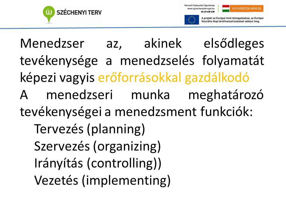 Menedzser az, akinek elsődleges tevékenysége a menedzselés folyamatát képezi vagyis erőforrásokkal gazdálkodó A menedzseri munka meghatározó tevékenységei a menedzsment funkciók: Tervezés (planning) Szervezés (organizing) Irányítás (controlling)) Vezetés (implementing)