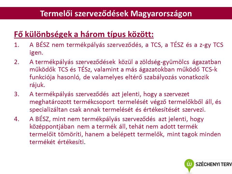 Termelői szerveződések Magyarországon Fő különbségek a három típus között: 1.A BÉSZ nem termékpályás szerveződés, a TCS, a TÉSZ és a z-gy TCS igen.