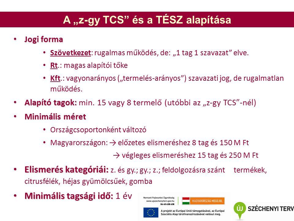 """A """"z-gy TCS és a TÉSZ alapítása Jogi forma Jogi forma Szövetkezet: rugalmas működés, de: """"1 tag 1 szavazat elve."""