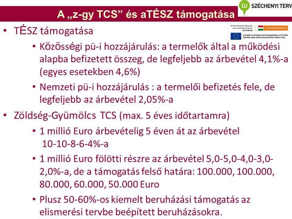 """A """"z-gy TCS és aTÉSZ támogatása T É SZ támogatása K ö z ö ss é gi pü-i hozzájárulás: a termelők által a működési alapba befizetett összeg, de legfeljebb az árbevétel 4,1%-a (egyes esetekben 4,6%) Nemzeti pü-i hozzájárulás : a termelői befizetés fele, de legfeljebb az árbevétel 2,05%-a Zöldség-Gyümölcs TCS (max."""