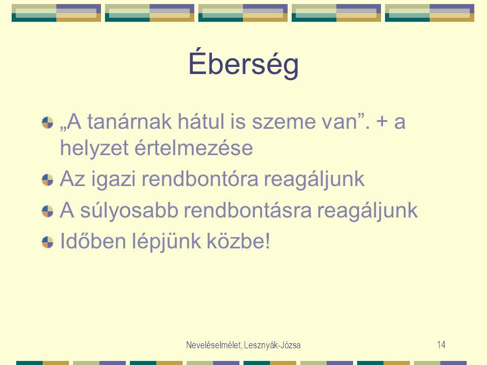"""Neveléselmélet, Lesznyák-Józsa14 Éberség """"A tanárnak hátul is szeme van"""". + a helyzet értelmezése Az igazi rendbontóra reagáljunk A súlyosabb rendbont"""